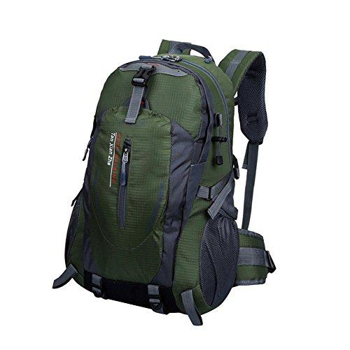 Sac à Dos en Nylon Imperméable pour Randonnée Camping en Plein Air - Vert Armé