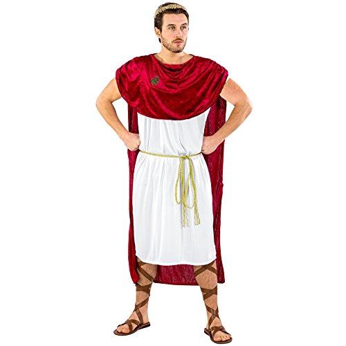 dressforfun Herrenkostüm Trojaner Achilles | Langes Gewand in antikem Design | Angenähter, mächtiger Umhang | inkl. Goldener Bindegürtel & Lorbeerkranz (S/M | Nr. 300407)