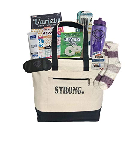 Get Well Soon Cancer Care Package for Women Comfort Gift for Chemo Patient or Any Woman in The Hospital or Ill – Encouragement to Be Strong (Purple Represents All Cancers)