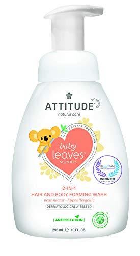 ATTITUDE Baby Leaves 2-in-1 Waschschaum für Körper und Haar - Birnennektar (1 x 295 ml)