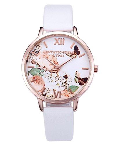 JSDDE Reloj de pulsera para mujer con correa de piel y mecanismo de cuarzo, diseño vintage de flores y mariposas y esfera en oro rosa, color blanco