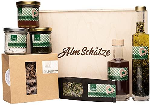 Salzburger Alm Schätze Feinkost-Geschenkbox - Geschenkkorb mit Spezialitäten aus Österreich - Bio-Präsentkorb mit Pasta
