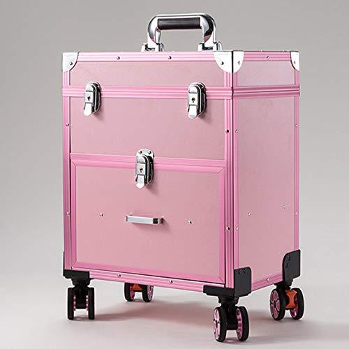 WYCD Maleta para Maquillaje Profesional Maletín De Cosméticos Maleta para Peluquería con 4 Ruedas Giratorias 34.5 X 24 X 47cm,Pink