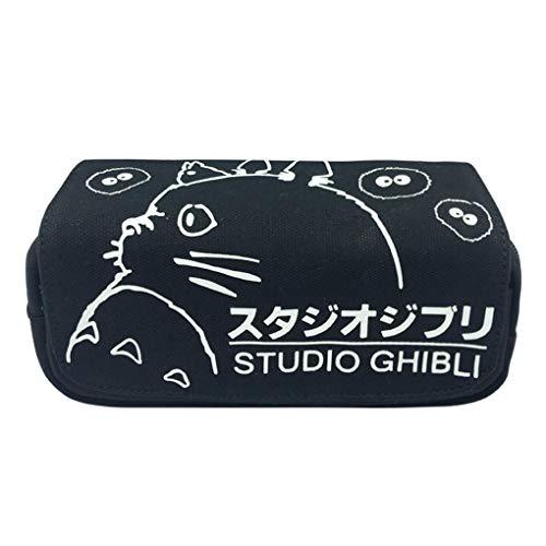 Memoryee Totoro lindo Estuche de lápices Gran capacidad Bolsa Doble cremallera Oficina Bolígrafo Organizador Bolsa de papelería con compartimentos para niñas, niños y adultos