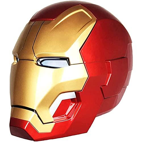 WXHJM Casco Iron Man,1: 1 Eléctrica Usable Helment con Luz LED,Control Remoto de Inducción,para Halloween Cosplay Accesorios Decorativos