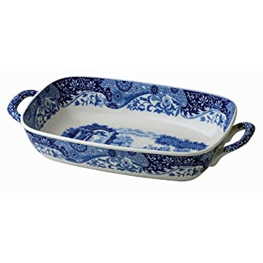 Spode 783931408892 Italian Handled Serving Dish, 11.5 x 8, Blue, White