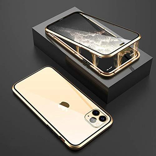 Adecuado para Apple 5/6 / 6s / 7 / 8p / XS/XR / 11 PRO MAX / 12 Mini pro Max/SE creativa funda magnética de doble cara para teléfono móvil, nano vidrio, protección de 360 grados