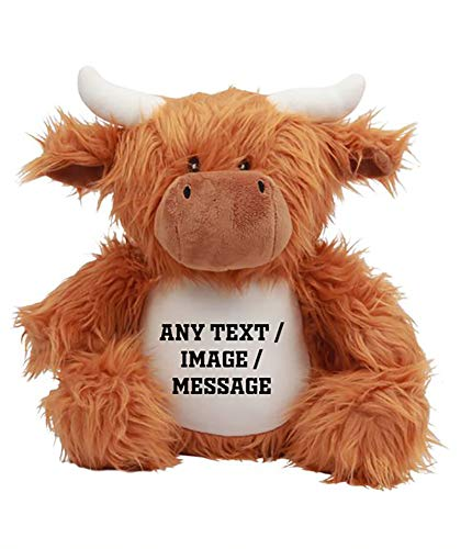 Getagift Personalised Teddy Bear with your Own Text/Image/Message Unicorn,Fox,Cow,Reindeer,Santa,Owl,Elephant,Lamb,Penguin-themed Soft Toy for Boy or Girl,Birthday (Highland Cow)