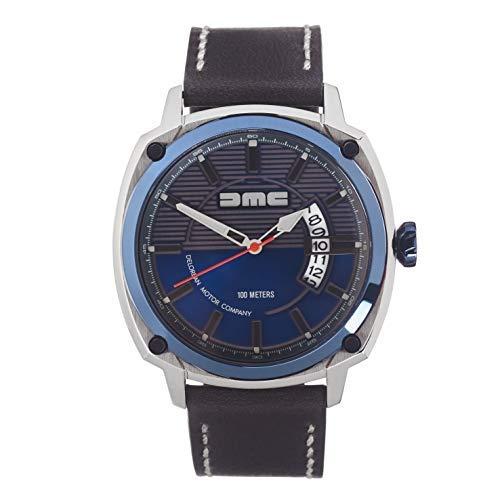 DMC DeLorean - Alpha Armbanduhr für Herren | DeLorean Motor Company | 44mm Edelstahlgehäuse mit IP-blauer Lünette und Krone | 100m wasser- und kratzfest | Blaues Zifferblatt | Echtes Lederarmband
