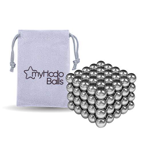 myHodo Magnetkugeln 5mm, ausgefallene Geschenkidee für Männer, Mitarbeitergeschenk, Giveaway, extra Starke Magnet Kugeln, Magnet Balls, Technik Gadget (100 Stück,Silber)