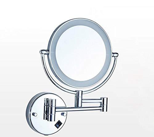Badkamerspiegel dubbele zijspiegel 8 inch vergrootglas voor wandmontage LED-lamp cosmeticaspiegel kan worden uitgerekt en ingekort 04