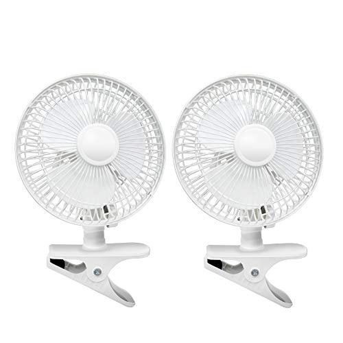 BEYOND BREEZE Clip Fan Two Quiet Speeds, Strong Grip Clamp, Adjustable Tilt, Ideal for Home, Office, Dorm, 6 Inch, White, 2 Pack