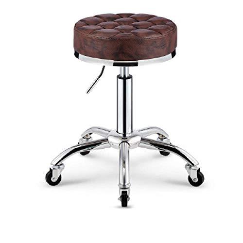 Sessel mit Rollen,Hocker Kosmetik mit Braun PU Kunstleder Bezogener Sitz,höhenverstellbar 45-55 cm,bis 160kg,Rollhocker Arbeitshocker für Frühstückszähler Höhenverstellbarer Drehbarer Hocker Mit 360