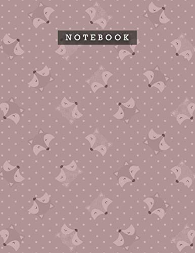 Notebook Rosy Brown Color Smile Foxes Patterns Cover Lined Journal: Personal, 110 Pages, Meal, 8.5 x 11 inch, 21.59 x 27.94 cm,