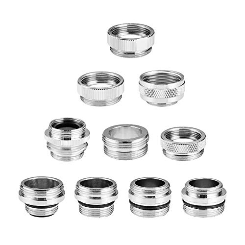 Eiggsco 10 Pieces Faucet Adapter Kit, Kitchen Sink Brass Aerator Adapter Female Male Faucet Adapter for Garden Hose,Water Filter, Standard Hose via Diverter, Chrome Finished