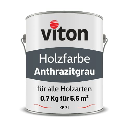 VITON Holzfarbe in Grau - 0,7 Kg Holzlack Seidenmatt - Wetterschutzfarbe für Außen - 3in1 Grundierung & Deckfarbe - Profi-Holzschutzlack - KE31 - RAL 7016 Anthrazitgrau