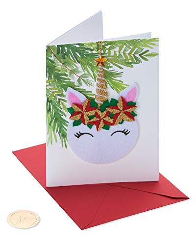 Papyrus Christmas Card (Floral Unicorn)