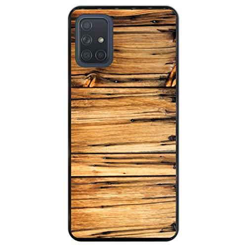 Telefoonhoesje voor [ Samsung Galaxy A71 ] tekening [ Oude houten schuur, houten muur ] Zwart TPU flexibele siliconen schaal