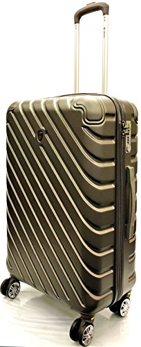 26'/71cm Medium Super Lightweight Durable ABS Hard Shell Hold Luggage Suitcases Travel Bags Trolley Case Hold Check In Luggage with 8 Wheels Built-in 3 Digit TSA Combination Lock(26' Medium, Charcoal)