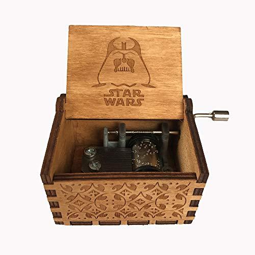 MINGZE Caja de música de Madera manivela, Pure Hand-Classical Music Box Hand-Wooden Music Box Creative Wooden Crafts Best Gifts, Variedad de Estilos (Star Wars(Wood Color))