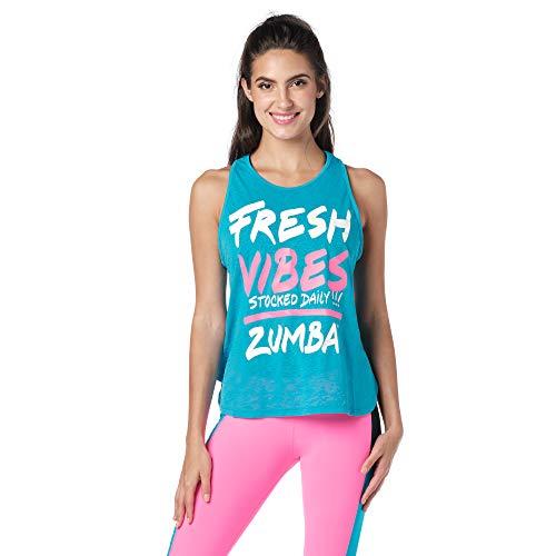 Zumba Activewear Backless Top Deportivo Dance Fitness Camisetas de Entrenamiento Tank Tops, Poppin' Blue, X-Large Womens