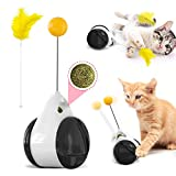 猫 おもちゃ 猫じゃらし 自動回転猫おもちゃ 運動解消 ストレス解消 羽根やボール付き (ブラック)