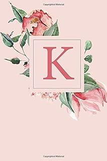 K: A Soft Pink Roses and Peonies Monogram Sketchbook  | 110 Sketchbook Pages (6 x 9) | Floral Watercolor Monogram Sketch Notebook | Personalized Initial Letter Journal | Monogramed Sketchbook