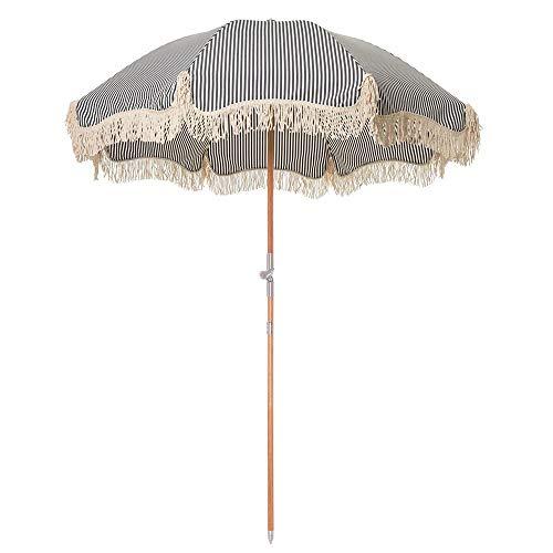 Parasol Sombrilla De Playa De Madera 1.8M Sombrilla De Jardín Inclinable, Paño De Poliéster Excelente Protección UV, Sombrilla A Rayas Plegable