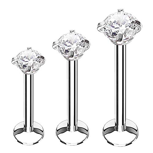 BodyJ4You 3PC Labret Stud Tragus Earring Set 16G Surgical Steel CZ Crystal Helix Monroe Cartilage