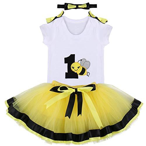 Baby Girls 1st Birthday Cake Smash 3pcs Outfits Set Cotton Romper Bodysuit+Tutu Dress+Flower Headband Princess Skirt Clothes Yellow Bee Bow One Size