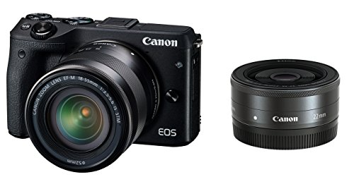 Canon EOS M3 Mirrorless Camera (Black) with EF-M 18-55mm IS STM and EF-M 22mm f/2 STM Lenses - International Version (No Warranty)