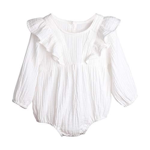 Janly Clearance Sale Mameluco para niñas de 0 a 24 meses, recién nacido, bebé, niño, niña, de lino, sólido, con volantes, para bebés de 0 a 6 meses, regalos de Pascua de San Patricio, color blanco