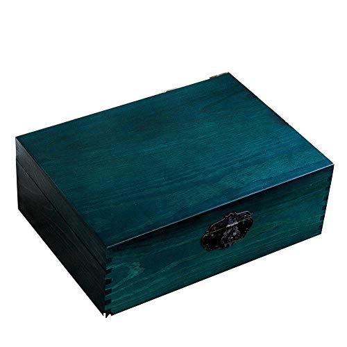 Maleta Vintage, Gran Capacidad Cerradura 4 Esquinas Fácil De Montar Juguetes Joyas Coleccionables Almacenamiento Decoración De Madera, 4 Tamaños GGYMEI (Color : Blue, Size : 25x17x9cm)