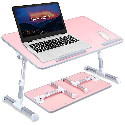 Mesa de cama portátil portátil, mesa de pie ajustable para ordenador portátil, soporte plegable para trabajar/leer/comer en el suelo del sofá (grande/rosa)