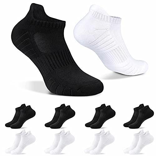 HISOKOI Calcetines Tobilleros Hombre Mujer 8 Pares Calcetines Deporte Cortos Algodon Transpirable,Negro-blanco 39-42