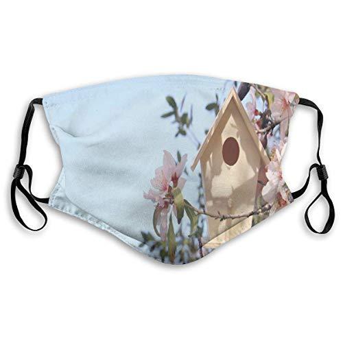YYTT8 Gesichtsschutz Mundschutz Nasenschutz Wiederverwendbar Waschbar Gesichts Schals Kleines Vogelhaus auf Kirschblütenbaumzweig Frühling Sakura Blooming