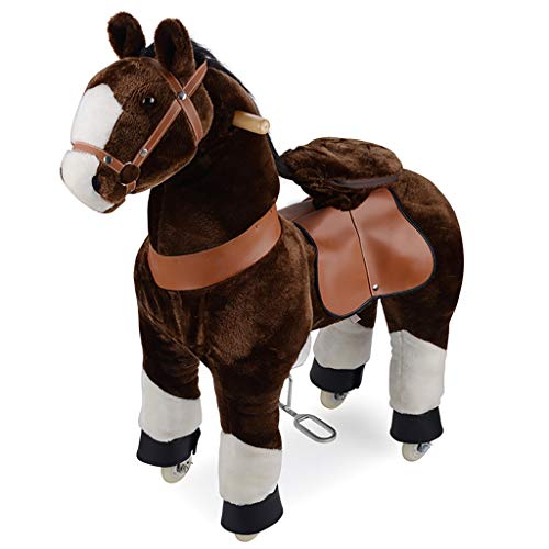 Riding Toys Ride on Horse Toy Plush Walking Animal Chocolate Brown Horse with White Hoof No Battery No Electricity Mechanical Pony. Unique Rocking Horse Unique Gift for Age 3-6 or Up to 90 kg Pre-Kind