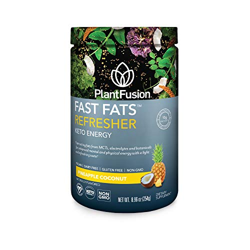 PlantFusion Fast Fats Refresher Keto Energy Powder | Ketogenic Diet Supplement with MCTs & Electrolytes | Vegan Powdered Drink Mix for Athletic Performance, Mental Focus | Pineapple Coconut, 8.96 Oz