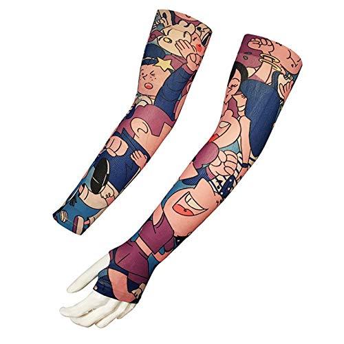 Shenme Mangas de Brazo de Tatuaje Falso para Hombres Mujeres Dragón Diseño UV Protección UV Cooler Ciclismo Al Aire Libre Conducción Brazo Mangas Elástico Accesorios Deportivos (Color : A)
