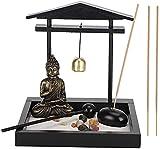LQ Zen Sand Garden para Escritorio Inicio Oficina Decoración Mini Conjunto con Rocas, Arena, Vela e...