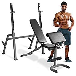 goplus adjustable weight lifting bench with preacher curl bench