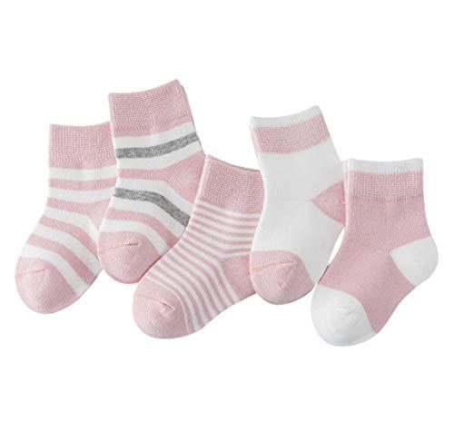 DEBAIJIA Niños Niñas Calcetines de Algodón Cómodo Deportivo Jogging Suave Elasticity Absorber el Sudor primavera verano otoño Color Rosa claro 4-6 años (Pack de 5 Pares)
