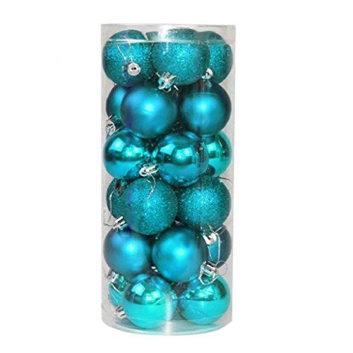 AK.SSI 4 cm Palline di Natale Palline brillanti Palline di Natale in plastica Palline di decorazione albero di Natale 24 pezzi (azzurro)