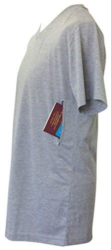Pick-Pocket Proof T-Shirt with Secret Pocket (V-Neck) (Large, Grey)