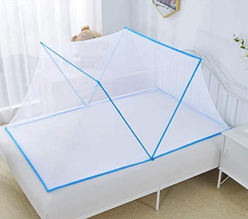 GHFHH Redes antimosquitos portátiles 190x135 Mosquitera para Camas Anti picaduras de Mosquitos Diseño Plegable Hogar o al Aire Libre Fácil instalación Malla de Cortina Azul