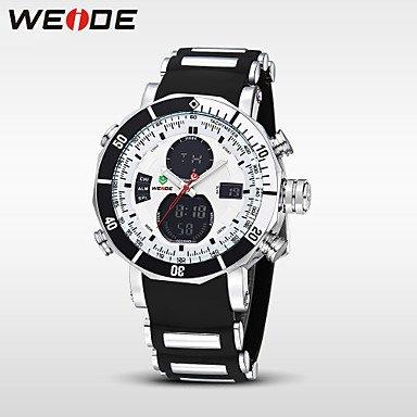 XKC-watches Herrenuhren, Weide® Sportuhr wasserdicht militärischen Quarz-Digital-Uhr Alarm Stoppuhr Zwei Zeitzonen (Farbe : Weiß, Großauswahl : Einheitsgröße)