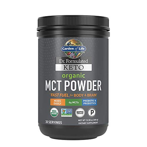 Garden of Life Dr. Formulated Keto Organic MCT Powder - 30 Servings, 6g MCTs from Coconuts Plus Prebiotic Fiber & Probiotics, Certified Organic, Non-GMO, Vegan, Gluten Free, Ketogenic & Paleo