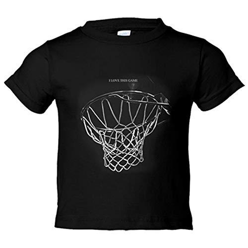 Camiseta niño I Love This Game canasta baloncesto jugones - Negro, 18-24 meses