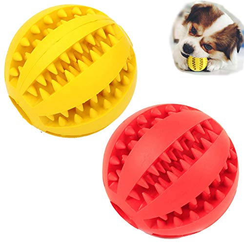 Sunglow Dog Toy Ball, Nontoxic Bite Resistant Toy Ball for Pet Dogs Puppy Cat, Dog Pet Food Treat Feeder Chew Tooth Cleaning Ball Exercise Game IQ Training Toy Ball,Large/Medium/Small Dogs Toy.