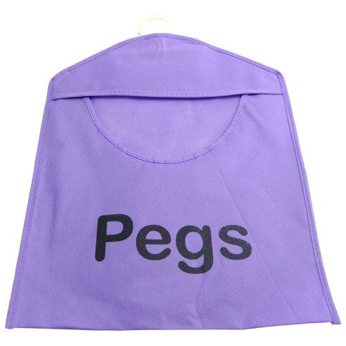Wäscheklammerbeutel, mit Haken, für über 100 Wäscheklammern, waschmaschinenfest, verfügbar in Gelb / Blau / Grün / Pink Pack of 1 violett